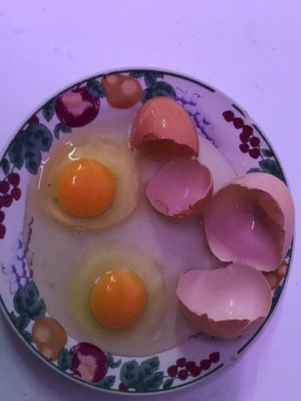 Two cracked egg shells with the egg joke and whites on a plate