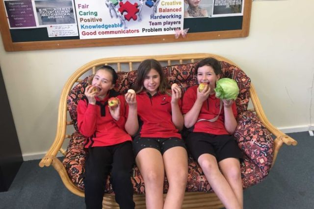 Cambrai Primary School students Emerson Reindeers, Kayla Virag and Madison Vanstone eating fruits