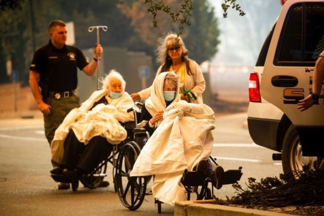 People were evacuated from hospitals as the wildfires threatened townships in northern California.