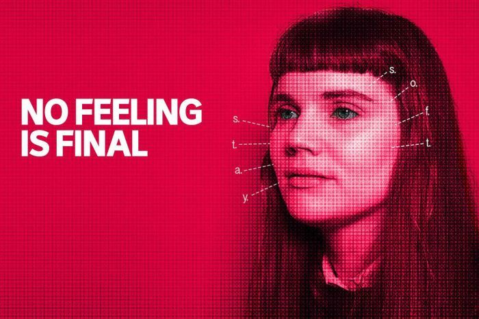 A picture of a woman with a red background and the words no feeling is final on the left.