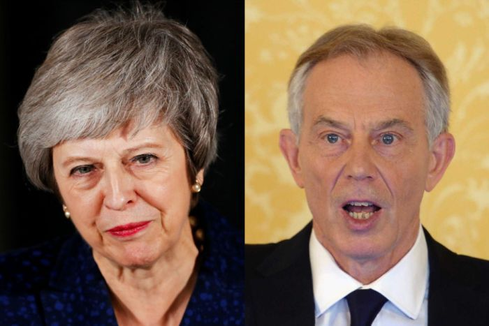 A composite photo with head and shoulders shots of Theresa May and Tony Blair.