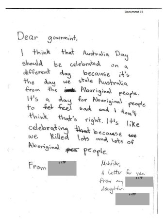 Australia Day date change urged by young girl in heartfelt letter