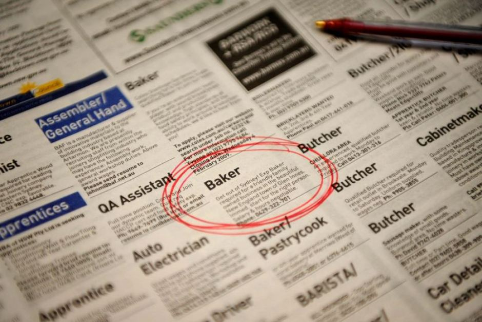 Jobs circled in a newspaper employment section - ABC News
