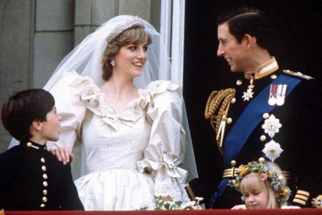 Prince Charles and Princess Diana on the balcony of Buckingham Palace