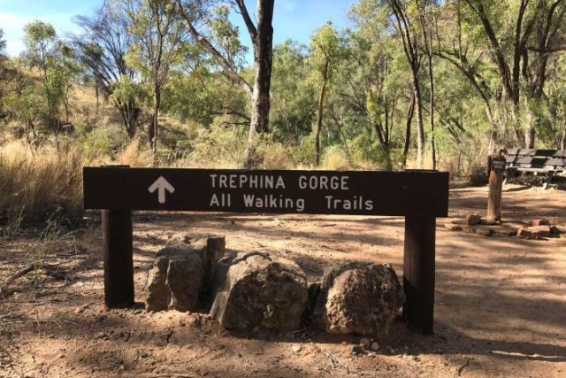 Signs marking the beginning of walking trails for Trephina Gorge in the NT.