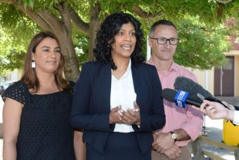 Greens' Northcote candidate Lidia Thorpe (left) with Samantha Ratnam and Richard Di Natale during a press conference.