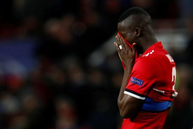 Manchester United's Eric Bailly looks dejected after the match against Sevilla.