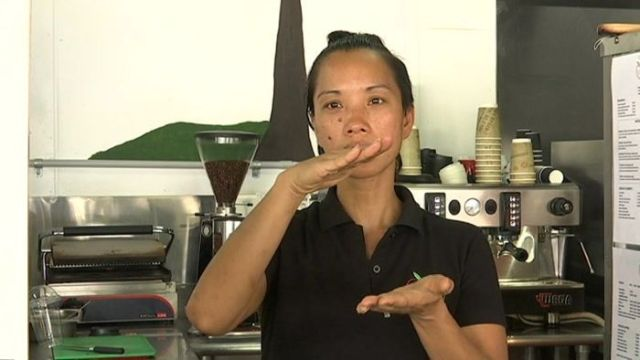 How to order a small long black with no sugar in sign language