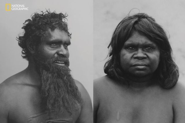 Two black and white photos, side by side of an Indigenous Australian man and woman.