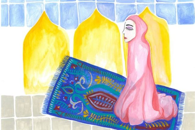 An illustration shows a woman wearing a hijab kneeling on a carpet, praying.