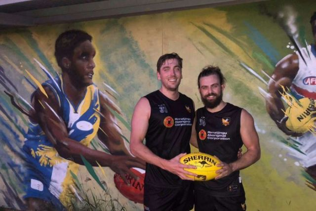 Tom Pike and Max Deighton wearing their AFL uniform