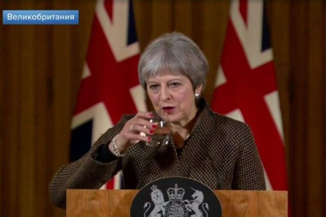 First Channel showed images of Theresa May drinking water.