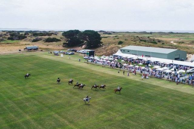 Aerial view of Barnbougle Polo January 2018 event, north east Tasmania.