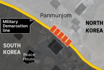 A map showing where the Peace House is located in relation to the military Demarcation line.