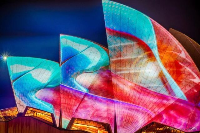 A Vivid Sydney light display, projected on to the Sydney Opera House.