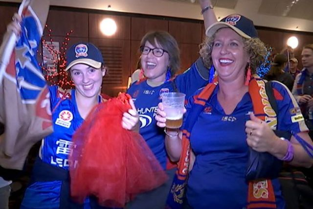 Newcastle Jets fans party despite losing their first home grand-final since 2008 to Melbourne Victory.