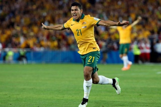 Massimo Luongo celebrates his goal for Australia in the 2015 Asian Cup final.