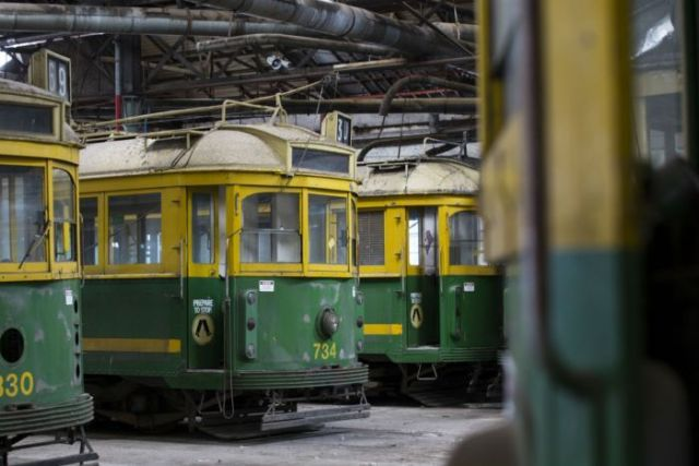 Three old yellow and green trams in a warehouse.