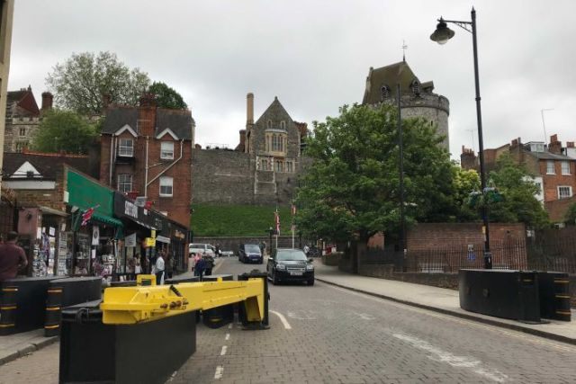 Hostile Vehicle Mitigation measures have been employed in the streets surrounding the wedding venue.