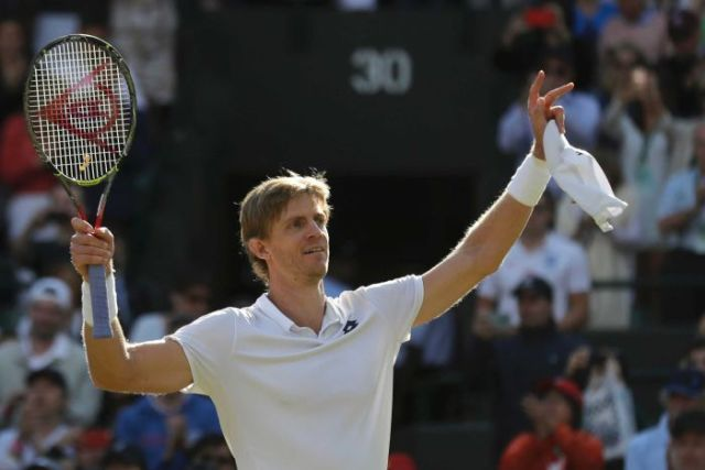 Kevin Anderson celebrates winning his Wimbledon quarterfinal against Roger Federer.