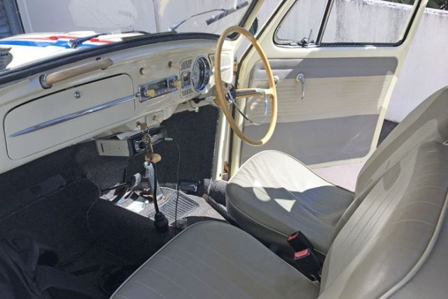 Interior of Chris Ball's Herbie the Love Bug replica restoration