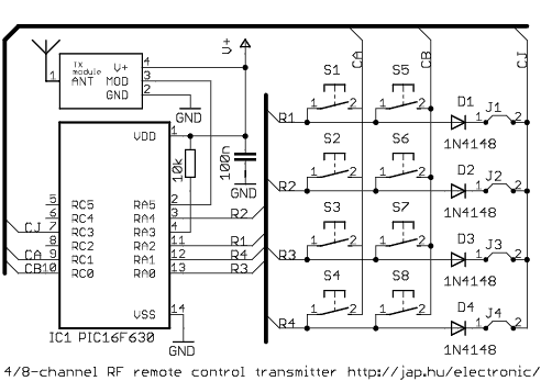rf remote control circuit 16 channel rf remote control circuit