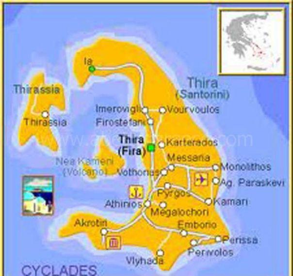 map of Santorini Greece