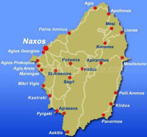 Naxos map Cyclades Greece