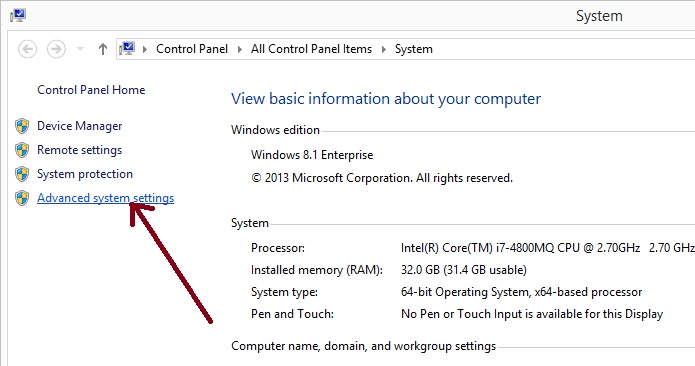 a picture showing where to click to open Advanced System Settings