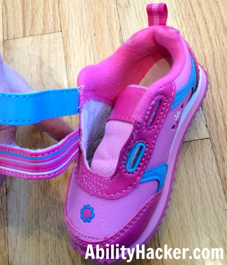Hacking cute shoes for over AFOs - undo the velcro straps