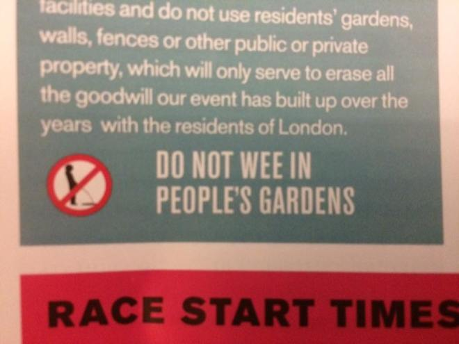 do not wee in people's gardens