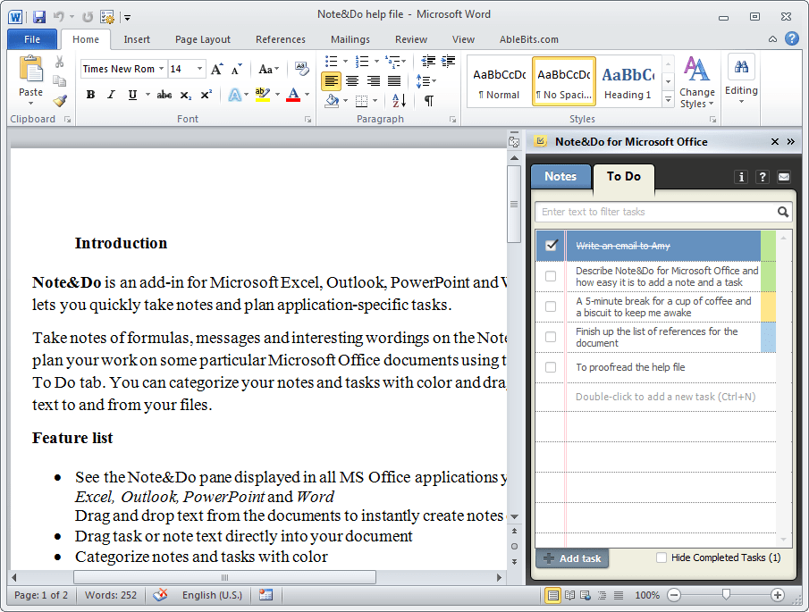 how to take notes on microsoft word