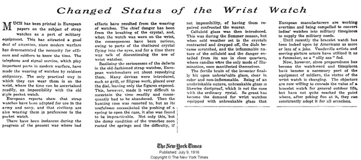 In 1916, The New York Times Finally Admitted The Wrist Watch Is Here To Stay Feature Articles