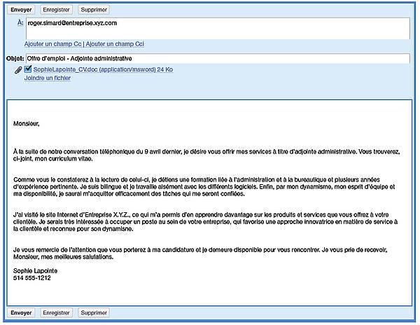 exemple de courriel pour envoyer cv