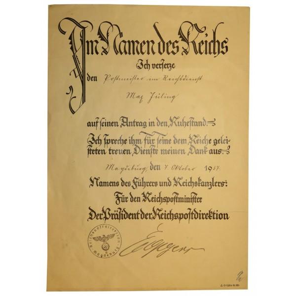 Retirement gratitude certificate, given to Postmeister im - gratitude certificate
