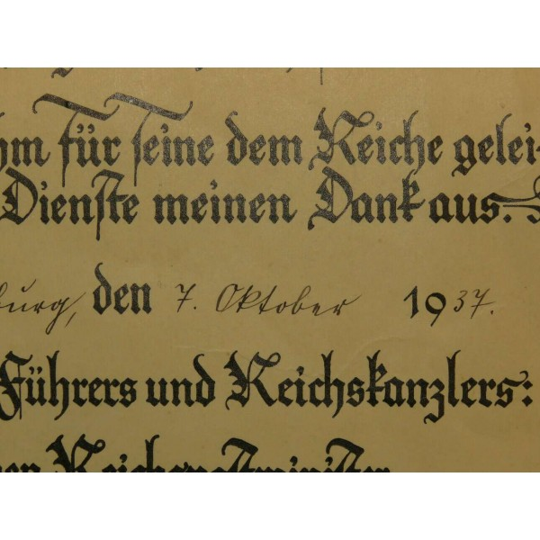 Retirement gratitude certificate, given to Postmeister im