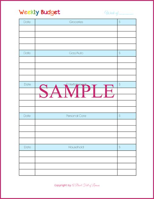 Personal Weekly Budget Template – Sample Weekly Budget