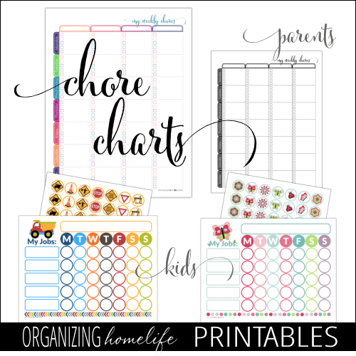 Printable Chore Charts via Organizing Homelife