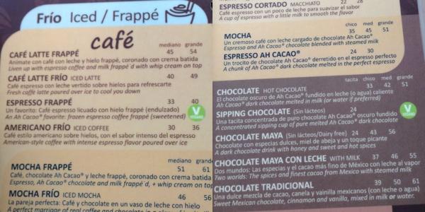 ah cacao menu playa del carmen