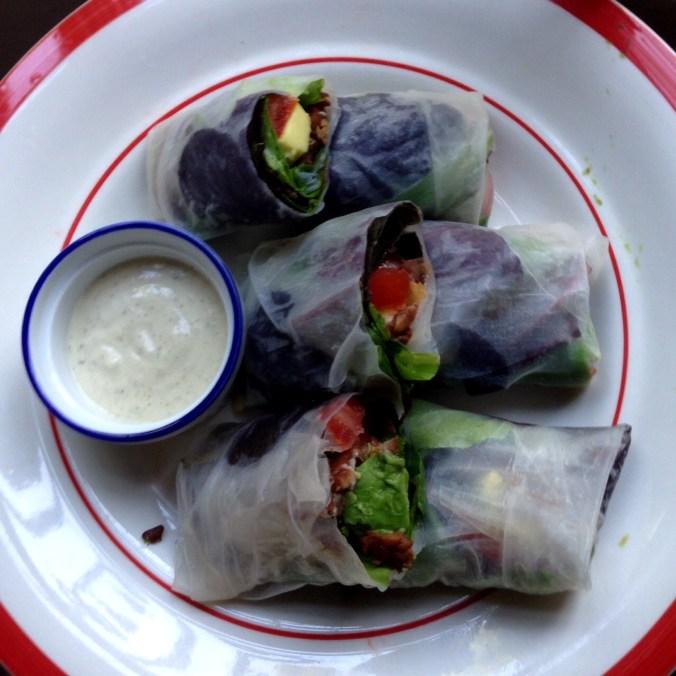 vegan blt spring rolls