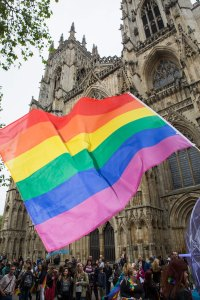 York Pride march began outside the city's historic Minster. Photograph © Duncan Lomax / Ravage Productions