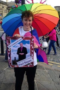 Jen carrying our Liverpool icon, Anglican Bishop of Liverpool Paul Bayes, at Pride on Saturday 30th July.