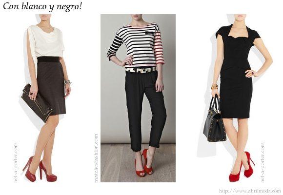 Zapatos rojos combinados con blanco y negro.