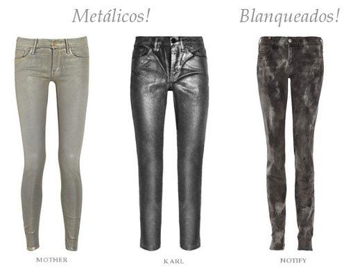 Jeans blanqueados y metálicos