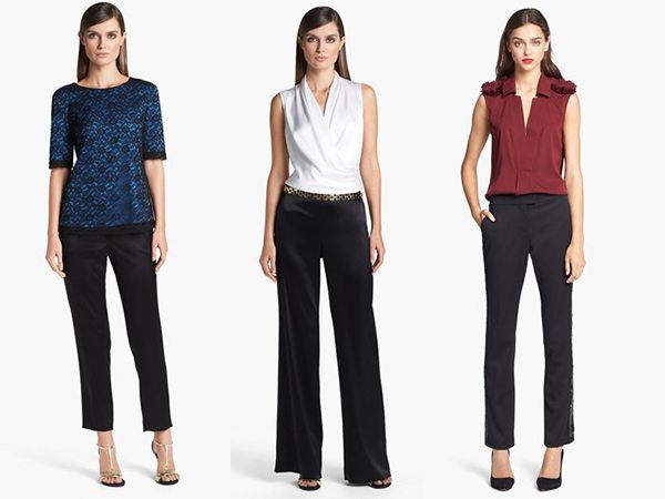 Ejemplos con blusas llamativas y pantalones clásicos para usar a los 40