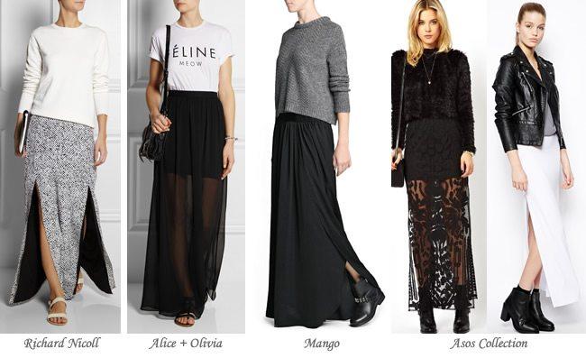 Moda en faldas 2014: Maxi faldas con aberturas y transparencias