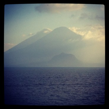 A view of three of the five volcanoes surrounding Lake Atitlan