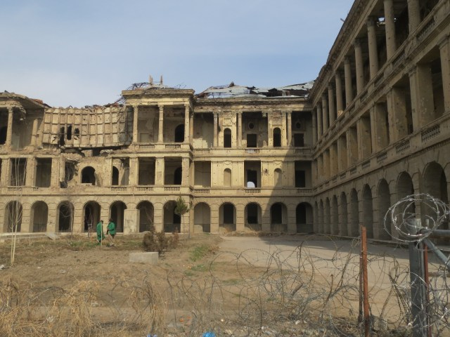 The palace has been destroyed after 30 years of war - used by the Russians, the Taliban, the Northern Alliance, the Americans - and everyone else as basecamp.