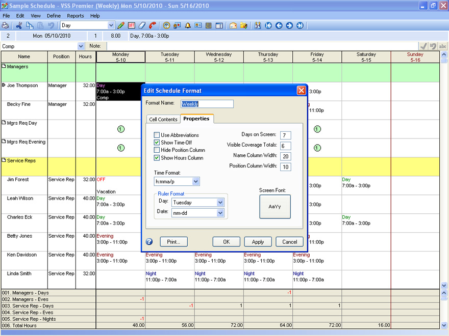 Sample Views and Screenshots of Employee Scheduling Software - create a schedule