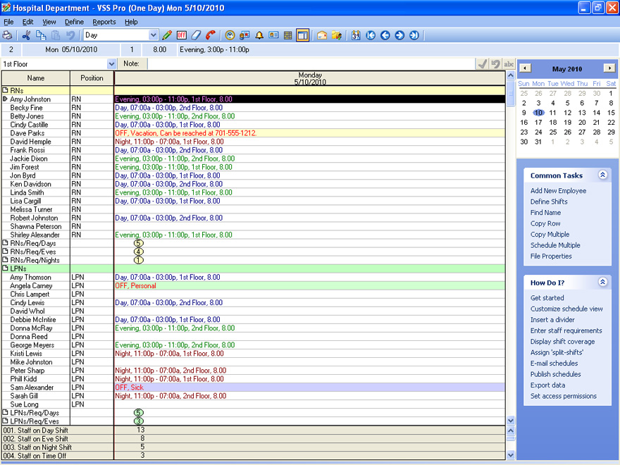 Sample Views and Screenshots of Employee Scheduling Software